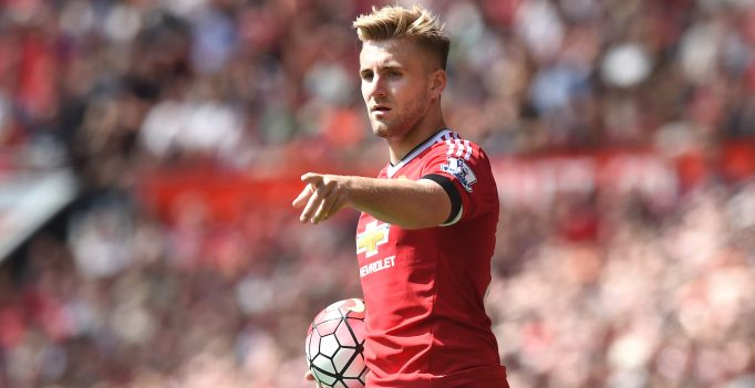 MANCHESTER, ENGLAND - AUGUST 08:  Luke Shaw of Manchester United in action during the Barclays Premier League match between Manchester United and and Tottingham Hotspur at Old Trafford, Manchester.  (Photo by Michael Regan/Getty Images)